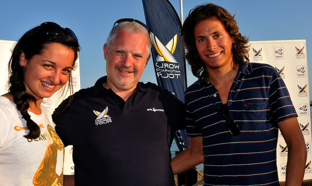 WMRT competition winners Nicolo Zanelli and Bianca Passadore from Italy with WMRT CEO Jim O'Toole. Photo:Chris Davies/WMRT