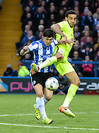 Fernando Forestieri of Sheffield Wednesday and Connor Goldson of Brighton and Hove Albion during the Sky Bet Championship Playoff Semi Final First Leg at Hillsborough, Sheffield<br /> Picture by Richard Land/Focus Images Ltd +44 7713 507003<br /> 13/05/2016