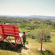 """Panchina Gigante Rosa a Santa Rosalia d'Alba<br /> <br /> Nelle Langhe le panchine giganti si stanno moltiplicando, nate da un'idea del designer americano Chris Bangle. Sulle colline patrimonio dell'Unesco le """"Big Bench"""" sono diventate un'attrazione turistica<br /> <br /> Langhe giant benches are multiplying, On the UNESCO heritage hills """"Big Bench"""" have become a tourist attraction.."""