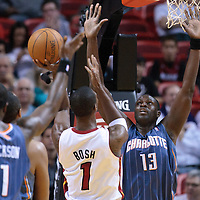 19 November 2010: Charlotte Bobcats' center #13 Nazr Mohammed defends on Miami Heat's power forward #1 Chris Bosh during the Miami Heat 95-87 victory over the Charlotte Bobcats at the AmericanAirlines Arena, Miami, Florida, USA.