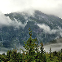 Mountain Fog and Clouds near Juneau, Alaska<br />