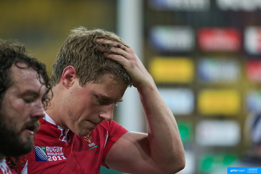 Heartbreak for Rhys Priestland, Wales, who's missed two drop goal attempts during South Africa's a 17-16 victory over his side during the Wales V South Africa, Pool D match during the Rugby World Cup in Wellington, New Zealand,. 11th September 2011. Photo Tim Clayton