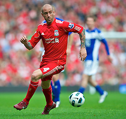 LIVERPOOL, ENGLAND - Saturday, April 23, 2011: Liverpool's Raul Meireles in action against Birmingham City during the Premiership match at Anfield. (Photo by David Rawcliffe/Propaganda)