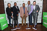 Anthony Anderson, center, has fun with real dads from the #SwifferDad video, Tuesday, April 14, 2015, in New York, to celebrate the modern dad and the positive effect of his hands-on role in the home.   Anthony served as creative advisor for the video which showcases the dads and their kids.  Pictured, from left to right, are Patrick Carrie, Mike Johnson, Doyin Richards and Beau Coffron. (Photo by Diane Bondareff/Invision for Swiffer/AP Images)