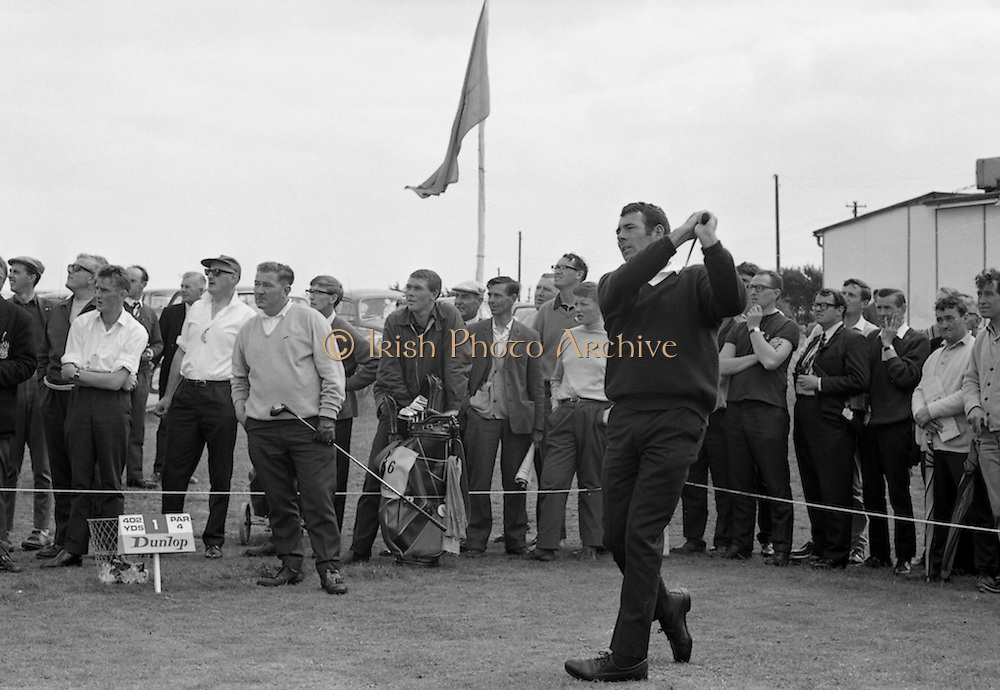 Hugh F. Boyle, (john Jacobs Golf Centre) driving off in the 2nd round after coming in with a 66. Paired with J. Craddock, Foxrock at the Irish Dunlop £1,000 Tournament at Tramore Golf Club, Co. Waterford on the 19th August 1967.