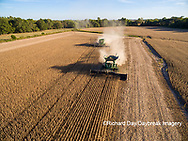 63801-08913 Soybean Harvest, 2 John Deere combines harvesting soybeans - aerial - Marion Co. IL