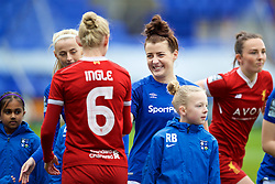 BIRKENHEAD, ENGLAND - Sunday, April 29, 2018: Everton's Angharad James shakes hands with her Wales international captain Liverpool FC Ladies's Sophie Ingle before the FA Women's Super League 1 match between Liverpool FC Ladies and Everton FC Ladies at Prenton Park. (Pic by David Rawcliffe/Propaganda)