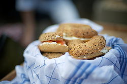 Bagels lox/cream cheese on board of the 'Cornellia'.<br /> <br /> After living abroad for more than three years I visited my old home town. Wondering what has changed I packed both my curiosity and a camera. (Original posted as part of a photo essay 'Revisiting Familiar Grounds' here: http://www.basslabbers.com/WP/?p=1320)