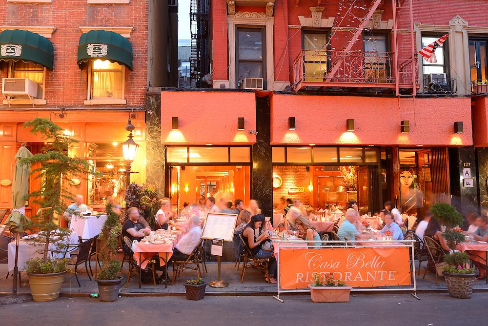 Outdoor dining on Mulberry Street,Little Italy,New York, Manhattan, USA