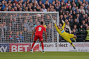 GK Karl Darlow can't reach Reece Thompsons goal during the Pre-Season Friendly match between York City and Newcastle United at Bootham Crescent, York, England on 29 July 2015. Photo by Simon Davies.