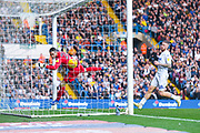 Ezgjan Alioski of Leeds United (10) shot goes in to make the score 2-1 during the EFL Sky Bet Championship match between Leeds United and Bolton Wanderers at Elland Road, Leeds, England on 23 February 2019.