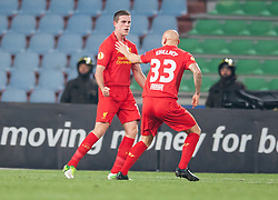 06.12.2012, Stadio Friuli, Udine, ITA, UEFA EL, Udinese Calcio vs FC Liverpool, Gruppe A, im Bild Torjubel Liverpool nach den 1 zu 0 durch Jordan Henderson (# 14, Liverpool FC) rechts Jonjo Shelvey (# 33, Liverpool FC) // during the UEFA Europa League group A match between Udinese Calcio and Liverpool FC at the Stadio Friuli, Udinese, Italy on 2012/12/06. EXPA Pictures © 2012, PhotoCredit: EXPA/ Juergen Feichter