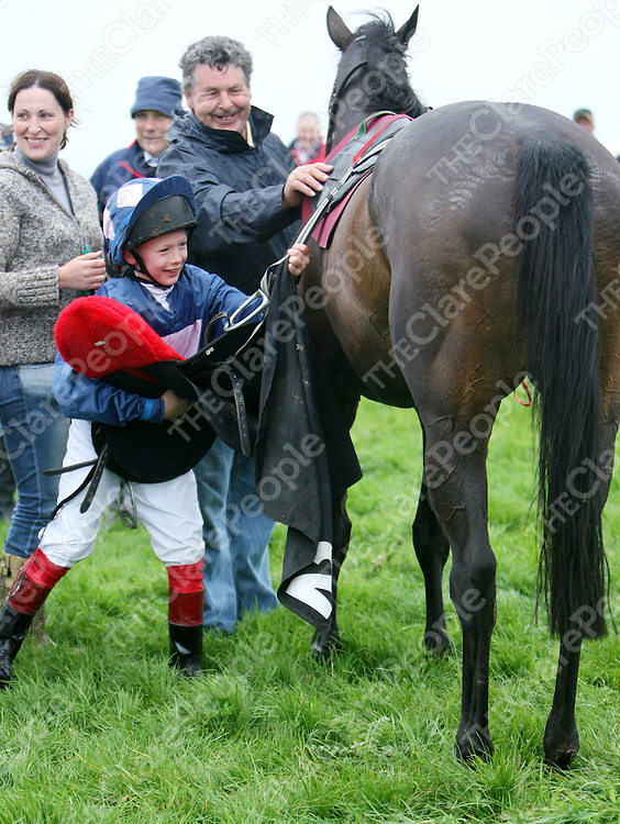 A delighted Colin Keane takes the saddle off Goldensand after winning the fourth race at the annual Lisdoonvarna Races at the weekend.<br /><br />Photograph by Yvonne Vaughan.