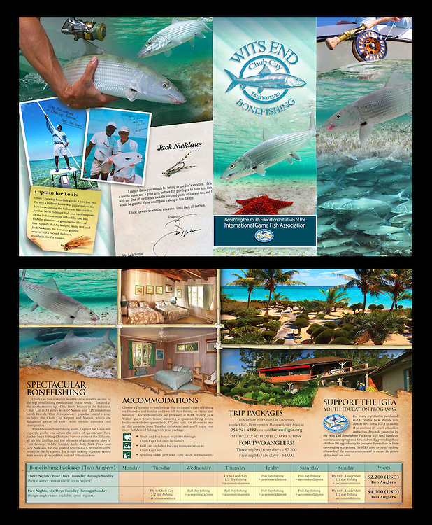 Wits End Chub Cay Bonefishing brochure created by Adrian E. Gray for Jack Willits