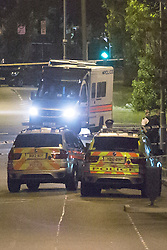 © licensed to London News Pictures. London, UK 21/08/2013. Police officers investigating Hale End Road in Walthamstow, London after a man has been shot by armed police responding. The man believed to be carrying a handgun has been taken to hospital and arrested. Photo credit: Tolga Akmen/LNP