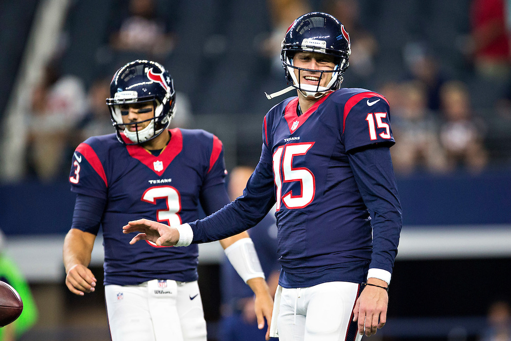 ARLINGTON, TX - SEPTEMBER 3:  Ryan Mallett #15 of the Houston Texans warming up before a preseason game against the Dallas Cowboys at AT&T Stadium on September 3, 2015 in Arlington, Texas.  The Cowboys defeated the Texans 21-14.  (Photo by Wesley Hitt/Getty Images) *** Local Caption *** Ryan Mallett