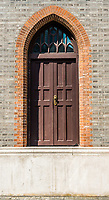 strange giant step door in church in the city of Shanghai China popular republic