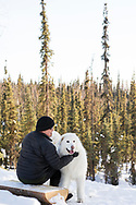 Permafrost scientist Kenji Yoshikawa and his watchdog Shiro.