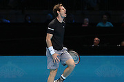 Andy Murray feels the pain during the ATP World Tour Finals at the O2 Arena, London, United Kingdom on 20 November 2015. Photo by Phil Duncan.