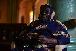 July 4, 2017 - Wau, Wau, South Sudan - A South Sudanese elderly IDP woman   prays at the St. Mary Help Christian Cathedral during the daily morning service led by Father Marko Mangu, who is responsible for the diocese covering the town of Wau. Since clashes between rebels and government forces broke out last year, the church received nearly 22 thousand refugees, mostly  farmers who ran from Dinka tribal militias from the northern areas of War-Awar. (Credit Image: © Miguel Juarez Lugo via ZUMA Wire)