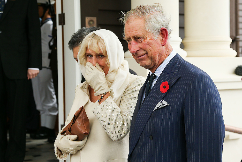 Camilla, Duchess of Cornwall and Prince Charles, Prince of Wales, look on during a welcome ceremony at Government House, Wellington, New Zealand, Wednesday, November 04, 2015. Credit:SNPA / Getty, Hagen Hopkins **POOL**