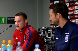 England interim manager Gareth Southgate and Wayne Rooney of England take questions during the Press Conference ahead of the World Cup Qualifier against Slovenia - Mandatory by-line: Robbie Stephenson/JMP - 10/10/2016 - FOOTBALL - SRC Stozice - Ljubljana, England - England Press Conference
