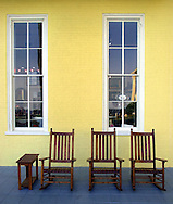 Wooden chairs sit on the patio of the newly renovated Congress Hall is shown, Sunday, August 11, 2002, in Cape May, New Jersey. The hotel recently underwent a two-year eighteen-million-dollar renovation, and re-opened in June 2002. (Photo by William Thomas Cain/photodx.com)