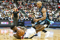 August 17, 2018 - Dallas, TX, U.S. - DALLAS, TX - AUGUST 17: Tr-State Nate Robinson #11 scrambles for the basketball over Power Corey Maggette #50 during the Big 3 Basketball playoff game between the Power and the Tri-State on August 17, 2018 at the American Airlines Center in Dallas, Texas. Power defeats Tri-State 51-49. (Photo by Matthew Pearce/Icon Sportswire) (Credit Image: © Matthew Pearce/Icon SMI via ZUMA Press)