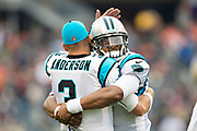 CHICAGO, IL - OCTOBER 22:  Cam Newton #1 hugs Derek Anderson #3 of the Carolina Panthers before a game against the Chicago Bears at Soldier Field on October 22, 2017 in Chicago, Illinois.  The Bears defeated the Panthers 17-3.  (Photo by Wesley Hitt/Getty Images) *** Local Caption *** Cam Newton; Derek Anderson