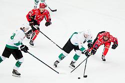 Aljaz Chvatal of KH SZ Olimpija and Lan Rauh Brun of HK SIJ Acroni Jesenice during ice hockey match between HDD SIJ Acroni Jesenice vs HK SZ Olimpija in Final of Slovenian League 2017/18, on April 12, 2018 in Arena Podmezakla, Jesenice, Slovenia. Photo by Urban Urbanc / Sportida