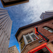 Looking upward in downtown San Francisco, California, January 2013