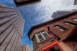 Looking upward in downtown San Francisco, California, January 2013