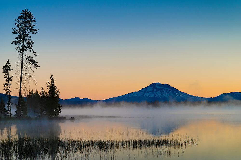 Crane Prairie Reservoir and Mount Bachelor at dawn, Deschutes National Forest, central Oregon.