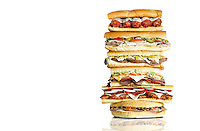 A giant stack of sandwiches from St. Louis sandwich shops for Feast Magazine.
