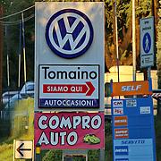 Turin, Italy - October 16, 2015 : a dealer of Volkswagen banners dealer volkswagen