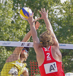 06.08.2011, Klagenfurt, Strandbad, AUT, Beachvolleyball World Tour Grand Slam 2011, im Bild Julius Brink GER, Matt Fuerbringer USA, AUT , EXPA Pictures © 2011, PhotoCredit EXPA Gert Steinthaler