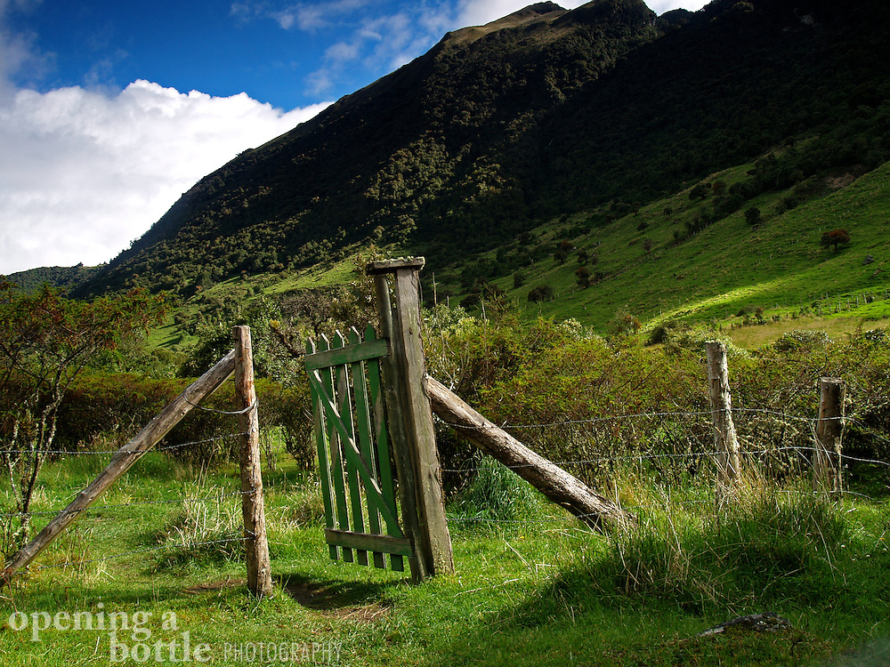 A gate stands ajar high in the Andes near Termas Papallacta, Ecuador.