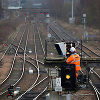 A Network Rail engineer working on signals on the railway lines just south of Perth Railway Station…<br />