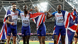 Great Britan's Martyn Rooney, Dwayne Cowan, Matthew Hudson Smith and Rabah Yousif celebrate taking bronze in the Men's 4x400m Relat Final during day ten of the 2017 IAAF World Championships at the London Stadium.