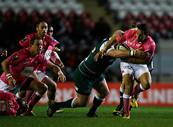 Julien Arias of Stade Francais (R) is tackled by Dan Cole of Leicester Tigers - Mandatory byline: Jack Phillips / JMP - 07966386802 - 13/11/15 - RUGBY - Welford Road, Leicester, Leicestershire - Leicester Tigers v Stade Francais - European Rugby Champions Cup Pool 4