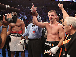 Aug 21, 2010; Newark, NJ, USA; Tomasz Adamek celebrates his 12 round decision victory over Michael Grant at the Prudential Center.