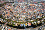 Nederland, Groningen, Groningen, 01-05-2013;<br /> Groningen-stad, centrum. Overzicht vanuit het Zuiden, Groninger  Museum onder in beeld.<br /> View on the city of Groningen, old town. Railway station and museum for Modern Art (in front of it)<br /> luchtfoto (toeslag op standard tarieven)<br /> aerial photo (additional fee required)<br /> copyright foto/photo Siebe Swart
