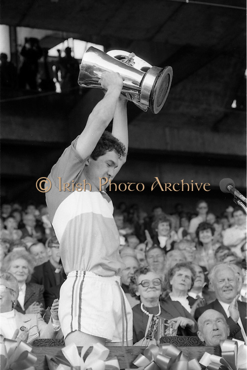 07/09/1986<br /> 09/07/1986<br /> 7 September 1986<br /> All-Ireland Senior and Minor Hurling Finals at Croke Park, Dublin.<br /> Michael Hogan, captain of the Offaly team, with the cup.