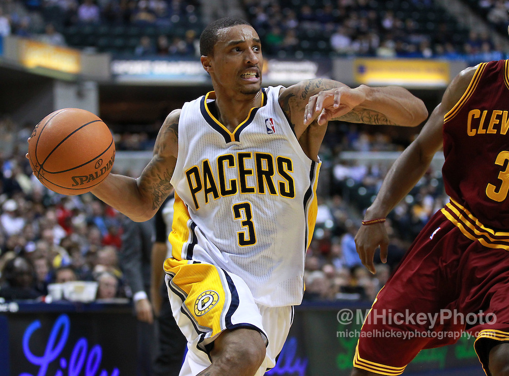 Dec. 30, 2011; Indianapolis, IN, USA; Indiana Pacers point guard George Hill (3) takes the ball to the basket against the Cleveland Cavaliers at Bankers Life Fieldshouse. Mandatory credit: Michael Hickey-US PRESSWIRE