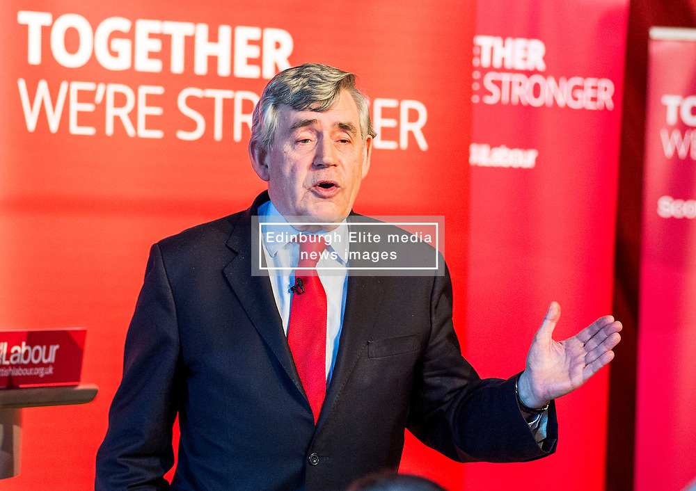 Former Prime Minister Gordon Brown gives a speech at a campaign event in Kirkcaldy.<br /> &copy; Dave Johnston/ EEm