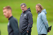 Heart of Midlothian manager Craig Levein (dark jacket) and Austin Macphee during training at the Oriam Sports Performance Centre, Edinburgh on 13 September 2018, ahead of the away match against Motherwell.