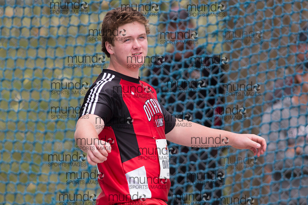 OTTAWA, ON -- 06 July 2018: Brandon Ovington throwing to bronze in the U20 discus at the 2018 Athletics Canada National Track and Field Championships held at the Terry Fox Athletics Facility in Ottawa, Canada. (Photo by Sean Burges / Mundo Sport Images).