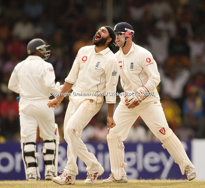 Monty Panesar finally takes a wicket, Chamara Silva lbw, during the first Test Match between Sri Lanka and England at the Asgiriya Stadium, Kandy. Photograph © Graham Morris/cricketpix.com (Tel: +44 (0)20 8969 4192; Email: sales@cricketpix.com)