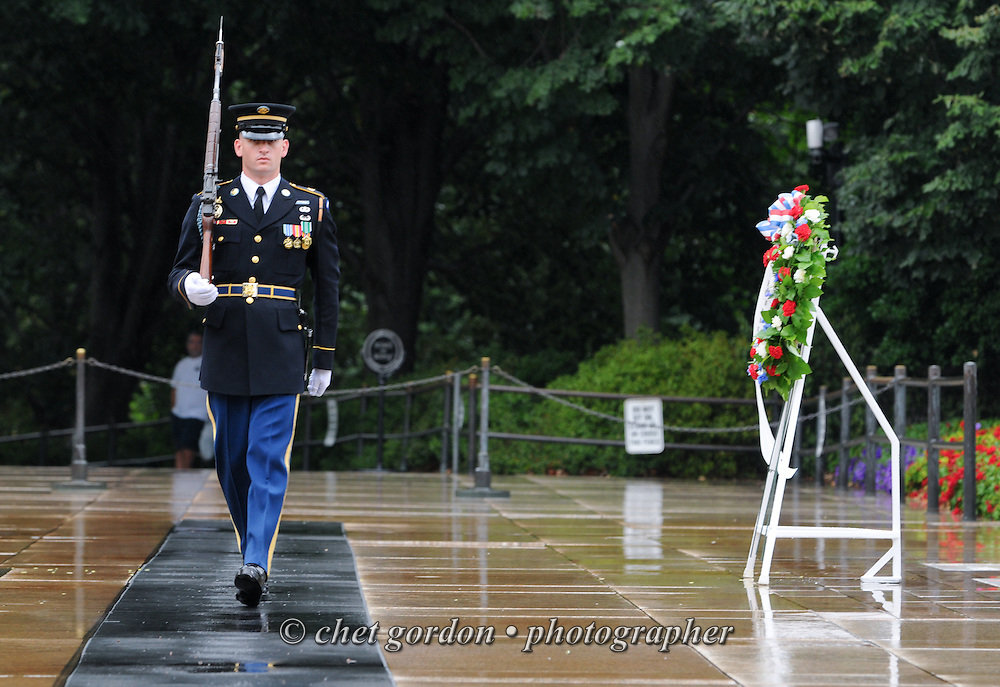 "ARLINGTON, VA.  A sentry with the United States Army's 3rd Infantry Regiment Honor Guard or ""Old Guard"" walks his post during a wreath laying ceremony at the Tomb of he Unknowns in Arlington National Cemetery in Arlington, VA on Saturday, September 21, 2013.  © www.chetgordon.com"