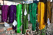 Recently dyed wool bundles in a variety of colors hanging to dry outdoors of the R.C Rug Factory in the Narayanthan area of Kathmandu, Nepal.  The company export rugs and carpets to Europe the U.S and Canada, and rely on the GoodWeave certificate of approval to boast excellent quality and fair conditions for its workers, as the carpet factory industry in Nepal is notorious for providing poor working conditions and forcing young children into labour.